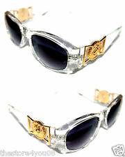 Medusa Metal Gold Logo 413  Medium Clear Sunglasses Vintage hip hop  Biggie 852