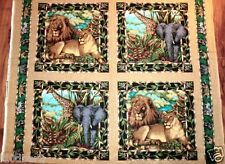 OUT OF AFRICA FABRIC panel 4  PILLOW PANELS LIONS GIRAFFES & ELEPHANTS too BTY