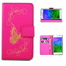 Butterfly Filp PU Leather Card  Wallet Cover Case For Samsung Galaxy Phones