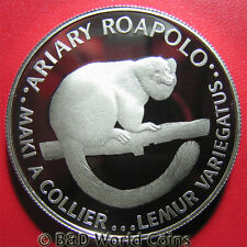 MADAGASCAR 1988 20 ARIARY SILVER PROOF LEMUR WWF WORLD WIDLIFE FUND RARE ANIMAL