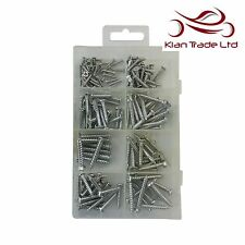 165pcs Wood Screws Assortment Set Various Sizes Storage Box Flat Round Head
