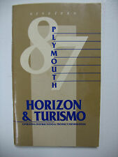 1987 Plymouth Horizon & Turismo Owners Manual