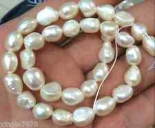 "7-8mm Natural Baroque White Freshwater Real Pearl Loose Beads 14"" Strand"