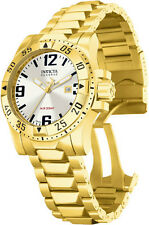 New Men's Invicta 6249 Reserve Swiss Silver Dial 18k Gold Plated Watch