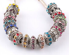 10pcs Mix silver CZ big hole spacer beads fit Charm European Bracelet DIY HX914