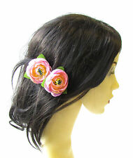 2 x Light Pink Ranunculus Flower Hair Pins Vintage Rockabilly Clip Rose Bud 1486