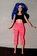 Yoga Pants Coral Stripe made for Curvy Barbie Fashionista Doll Clothes by TKCT