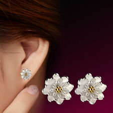 Women's 925 Sterling Silver flowers Ear Stud Earrings fashion jewelry Xmas Gift
