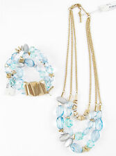 KENNETH COLE New York 'Sea Stone Beach' Aqua Bead Necklace Bracelet Set $98