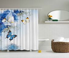Blue White Yellow Butterflies Flowers Fabric Shower Curtain Digital Art Bathroom