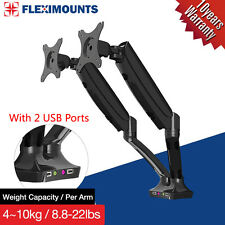 """Dual-arm Monitor Mount Desk LCD Arm Stand W/ USB Ports 10""""-28"""" 20 21 22 23 24 27"""