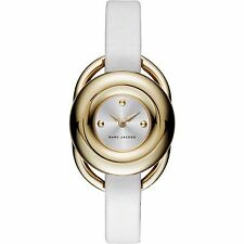 BRAND NEW MARC JACOBS MJ1446 JERRIE GOLD STEEL CASE WHITE LEATHER WOMEN'S WATCH
