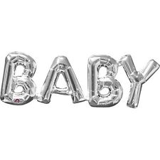 "Amscan BABY Shape Original Foil Balloon Silver 16"" Letters Occasion Decoration"