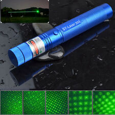 Green Laser Pointer 1MW Blue Shell + Star Cap 532NM Pen Lazer Light Beam ZOOM