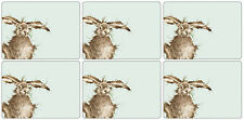 Bad Hare Day Table mats place mats and Coasters Wrendale Designs SET OF 6 Hares
