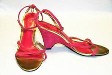Touch of Nina Pink Suede Strappy Wedge Sandals US Womens 8.5