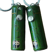 A Pair of Leather ChapStick/toothPick Holder,Pill Case.Panda Pattern. Green