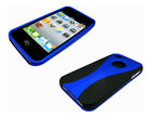 New Stylish Grip Series Dual Black Blue Hard Cover Case For Apple iPhone 4 4S 4G