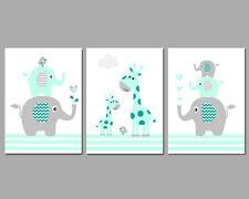3 Pared Arte Vivero impresiones Menta Y Gris Elefante Pila jirafas bebé aves Rayas