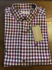 New Authentic Burberry Small Purple Check Plaid Knight Chest Men Shirt XL L M S