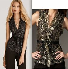 $298 ELIE TAHARI REMY GOLD LACE BLOUSE TOP LARGE L