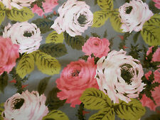 Vintage Retro Mid Century Lg. Shabby Roses Fabric ~ Pink Chartreuse on Gray