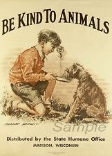 VINTAGE BE KIND TO ANIMALS  A4 POSTER PRINT