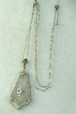 EDWARDIAN ANTIQUE 14K WHITE GOLD FILIGREE DIAMOND CAMPHOR NECKLACE