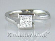 Certified Diamond Ring E Internally Flawless 1.06ct Princess Cut 18ct White Gold