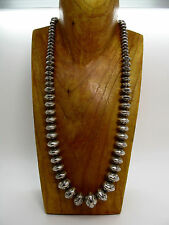 Vintage F.Laner Navajo Sterling Silver Pearls or Bench Bead Necklace 110g - 26""