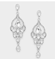 "3"" Clear Crystal Pageant White Silver Wedding Long Rhinestone Bridal Earrings"