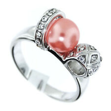 Ladies Pink Pearl & Crystal Stones Silver Rhodium EP Ring Size 9