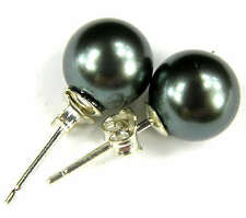 Natural 12mm Black Round South Sea Shell Pearl Silver Stud earrings AAA+