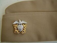 US NAVY O-5 COMMANDER OFFICER'S POLY WOOL & CNT KHAKI GARRISON CAP ALL SIZES ASK