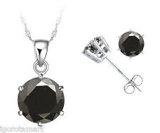 Quality Round Black Gemstone Necklace Stud Earrings Jewelry Set Sterling Silver