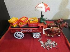 VINTAGE 1980'S COCA-COLA CAST IRON HORSE DRAWN DELIVERY WAGON CASES BOTTLES