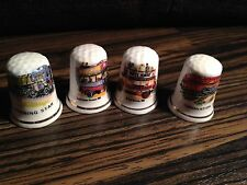 Thimbles - Set of 4, Buses & Trains - Bone China - Made in Britain (b19)