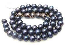 "SALE 7-8mm Natural Black Freshwater pearl Loose Beads 14""-los44"