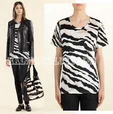 $575 GUCCI T-SHIRT TIGER ZEBRA ANIMAL SIGNATURE SILK JERSEY TOP XS / EXTRA SMALL