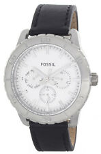 Fossil White Dial Black Leather Strap Multifunction Men's Watch BQ1623