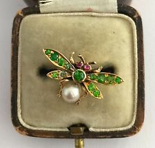 A Wonderful Edwardian Green Demantoid Garnet, Ruby & Pearl Dragonfly Ring 1800's