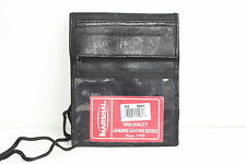 GENUINE LEATHER THIN WALLET ID Badge Window Pocket Card Holder Pouch  Neck Strap