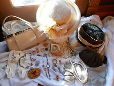Vintage 36 Piece Lot of Hats Jewelry Gloves Scarves & Purses!