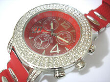 Iced Out Bling Bling Rubber Band Techno King Men's Watch Silver / Red Item 2842
