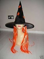 Halloween Witch Hat Orange Wig Fancy Dress Costume