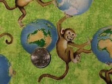 "Wilmington Animals Around the World Monkeys Cotton Quilting Fabric 44"" BTHY"