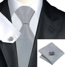 Gift Box Mens Silver Stripes Tie+Hanky & Cuflinks Matching Set 126