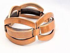 1950s Vintage Francisco REBAJES Copper Bangle Link Panel Bracelet Mid Century