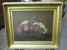 Tableau huile sur toile panier de fleurs signé P Baron 1882