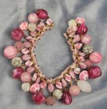 FAB VINTAGE MURANO GLASS FLOWERS & MULTI DANGLE GLASS BEAD CHARM BRACELET